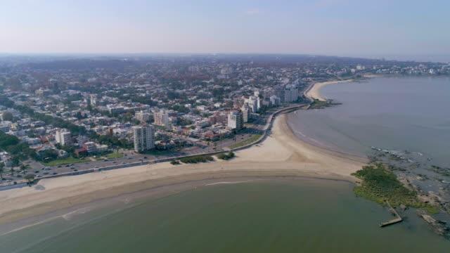 aerial view, high angle view, malvin beach, montevideo's coastline, uruguay - 鎮静薬点の映像素材/bロール