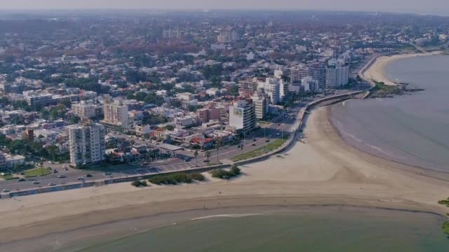 aerial view, high angle view, malvin beach, montevideo's coastline, uruguay - montevideo stock videos & royalty-free footage