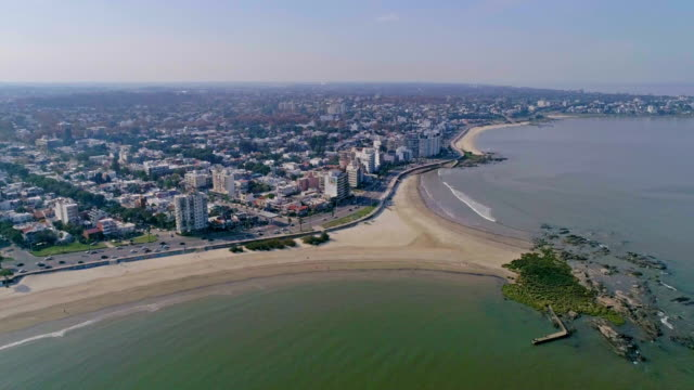 Aerial view, high angle view, Malvin beach, Montevideo's coastline, Uruguay
