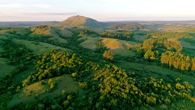 aerial view, high angle view, meadows and hills in rocha department, uruguay - uruguay stock-videos und b-roll-filmmaterial