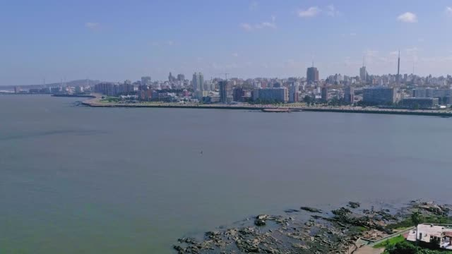 aerial view, high angle view, montevideo's coastline, uruguay - estuary stock videos & royalty-free footage