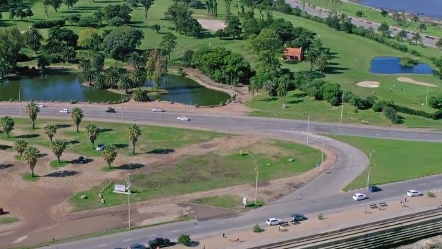 aerial view, high angle view, montevideo's coastline, uruguay - 鎮静薬点の映像素材/bロール
