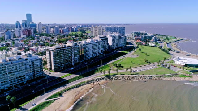 aerial view, high angle view, montevideo's coastline, uruguay - montevideo stock videos & royalty-free footage