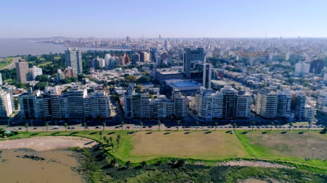 aerial view, high angle view, pocitos neighbourhood, montevideo's coastline, uruguay - montevideo stock videos and b-roll footage