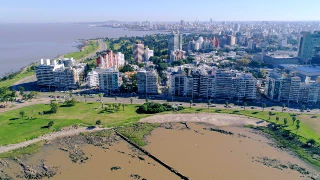 Aerial view, high angle view, Pocitos neighbourhood, Montevideo's coastline, Uruguay