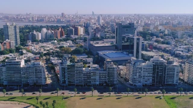 Aerial view, high angle view, Pocitos neighbourhood, Montevideo's coastline, Uruguay