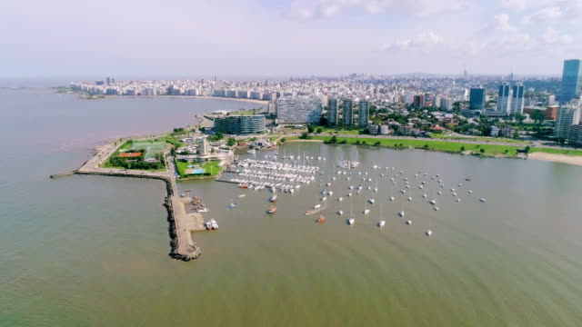aerial view, high angle view, puertito del buceo, montevideo's coastline, uruguay - montevideo stock-videos und b-roll-filmmaterial