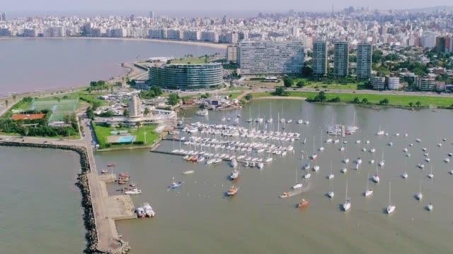 aerial view, high angle view, puertito del buceo, montevideo's coastline, uruguay - sedative stock videos & royalty-free footage