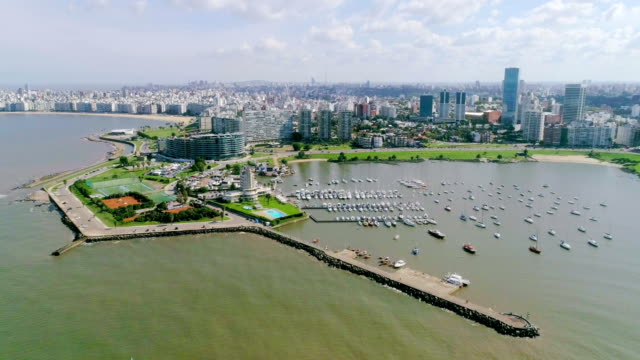 aerial view, high angle view, puertito del buceo, montevideo's coastline, uruguay - montevideo stock videos & royalty-free footage