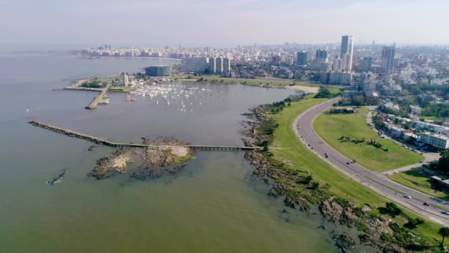 aerial view, high angle view, puertito del buceo, pocitos neighbourhood, montevideo's coastline, uruguay - montevideo stock-videos und b-roll-filmmaterial