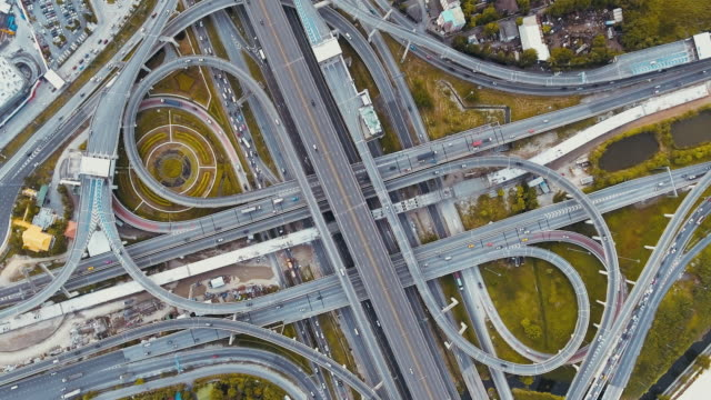 aerial view highway junction - motorway junction stock videos & royalty-free footage
