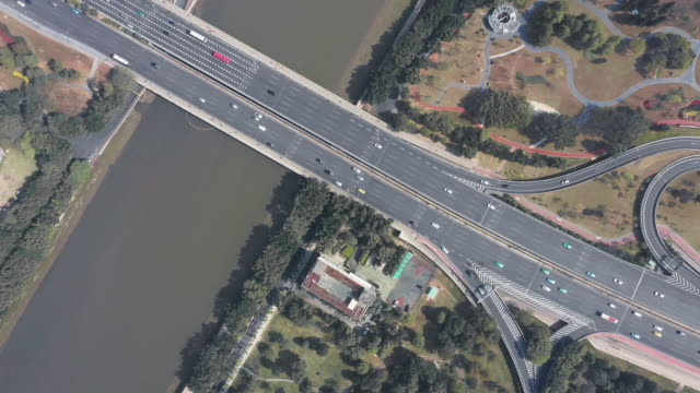 aerial view highway through city - guangzhou stock videos & royalty-free footage