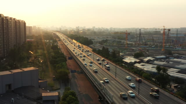 aerial view highway with sunset - hangzhou stock videos & royalty-free footage