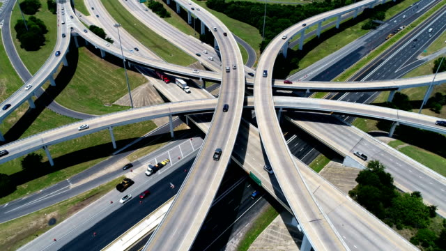 Aerial View Highways and Interchange above Mopac Expressway and Highway 183 in Austin , Texas , USA