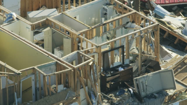 aerial view homes destroyed by category 4 hurricane - vortex stock videos & royalty-free footage