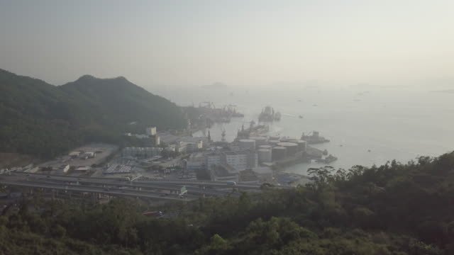 aerial view hong kong from air at sunset on top lion mountain - fir tree stock videos & royalty-free footage