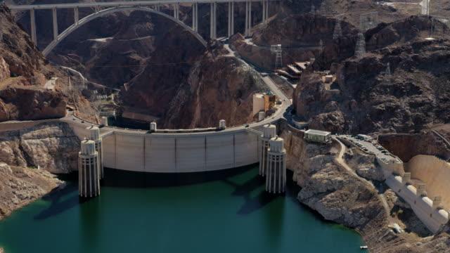 aerial view hoover dam lake mead las vegas - dam stock videos & royalty-free footage