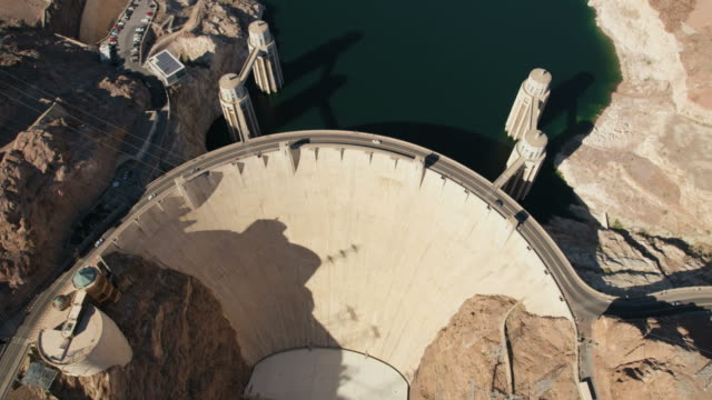 aerial view hoover dam lake mead las vegas - hoover dam stock videos and b-roll footage