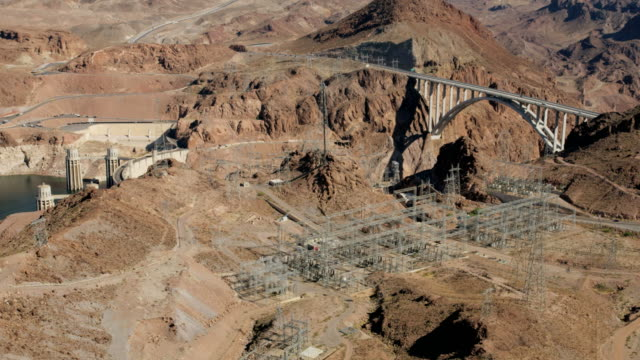 aerial view hoover dam power generating station nevada - power in nature stock videos and b-roll footage