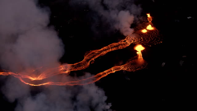 aerial view hot lava from active volcanic fissures - big island hawaii islands stock videos & royalty-free footage