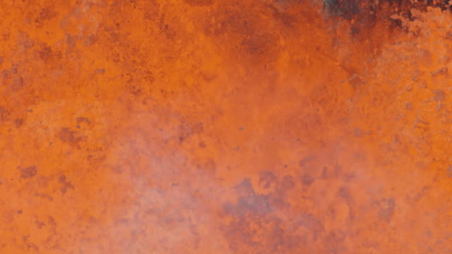 Aerial view hot lava rock solidifying on landing