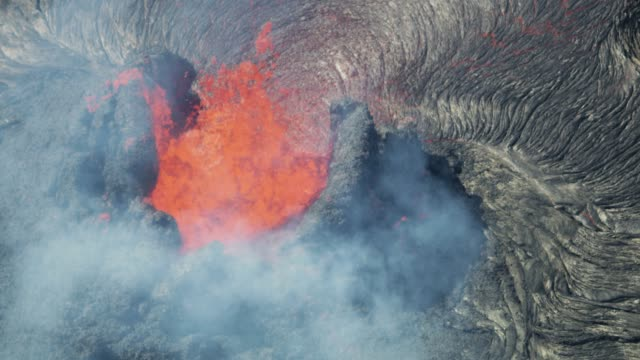 Aerial view hot magma flowing from earths crust