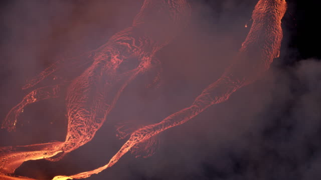aerial view hot magma open fissures toxic gases - tectonic stock videos & royalty-free footage