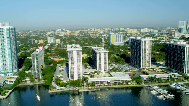 aerial view hotels and condominiums biscayne bay miami - biscayne bay stock videos & royalty-free footage