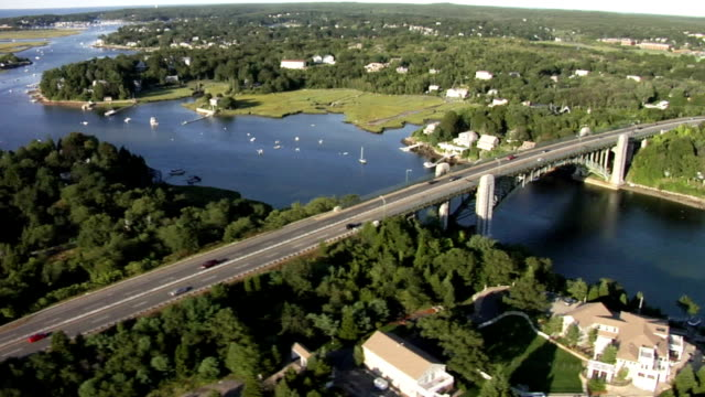 aerial view huge bridge in new england - gloucester massachusetts stock videos & royalty-free footage