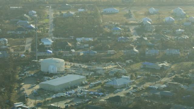 Aerial view Hurricane damaged Mexico Beach Water Tower