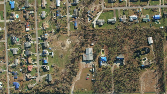 aerial view hurricane residential damaged properties florida panhandle - rescue stock videos & royalty-free footage