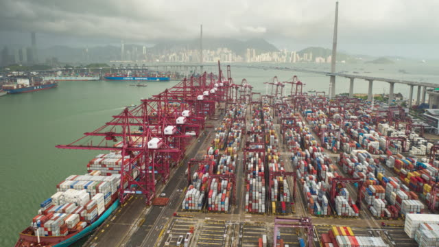 4k aerial view hyper lapse of hong kong kwai tsing container terminal, hong kong - stock market and exchange stock videos & royalty-free footage