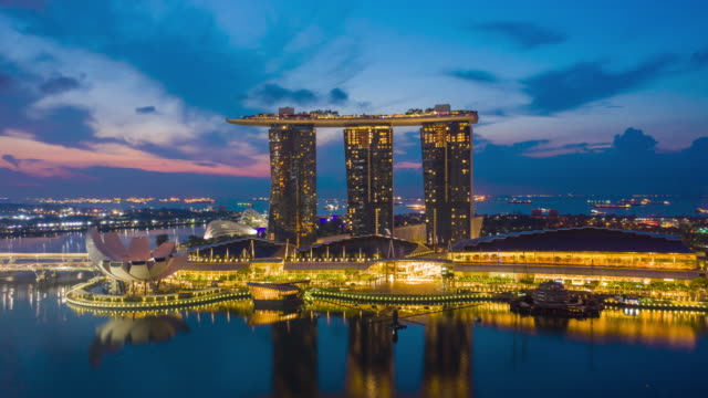 aerial view hyperlapse 4k video of the marina bay sands in singapore. - facade stock videos & royalty-free footage