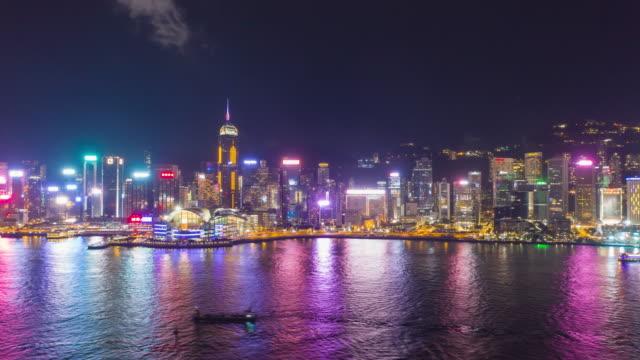 stockvideo's en b-roll-footage met aerial view hyperlapse 4k video of victoria harbour in hong kong. - hong kong