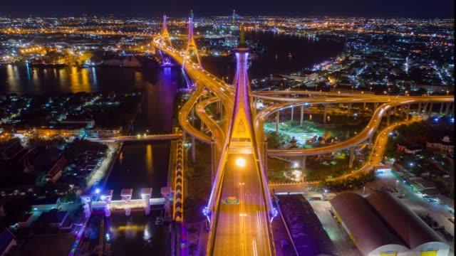 vídeos y material grabado en eventos de stock de vista aérea hiper-lapso o lapso de tiempo del puente de anillo industrial puente bhumibol cruzando el río chao phraya dos veces por la noche - fotografía imágenes