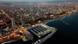 Aerial  view in Barcelona city  at night