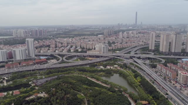 aerial view in tianjin - tianjin stock videos & royalty-free footage