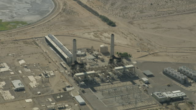 Aerial view industrial gas electrical production Barstow California