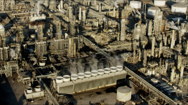 Aerial view industrial gas tanks Los Angeles refinery