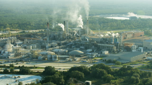 aerial view industrial paper mill in operation usa - made in usa点の映像素材/bロール