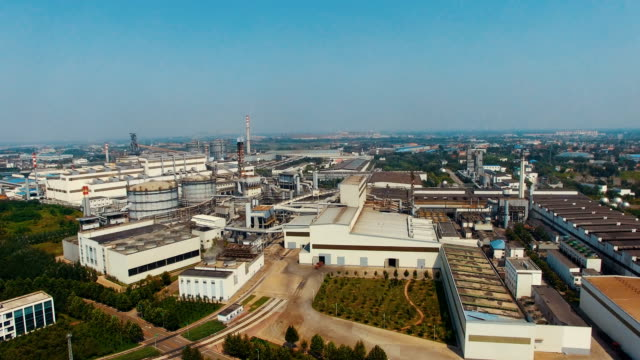 aerial view industrial park - industrial district stock videos & royalty-free footage