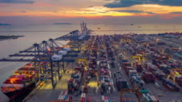 Aerial view Industrial port with Container port where is a part of shipping