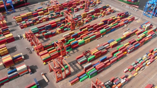 aerial view industrial port with containers - jetty stock videos & royalty-free footage