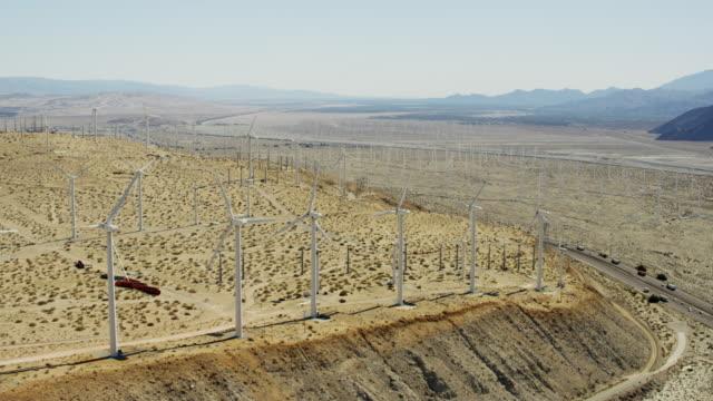 Aerial view industrial wind turbines Palm Springs California