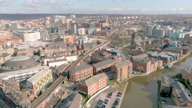 aerial view intercity nova train leaving leeds - flat stock videos & royalty-free footage