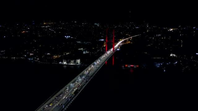 aerial view istanbul bosphorus seaside and bridge at night - ship's bridge stock videos & royalty-free footage