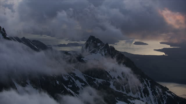 aerial view jackson lake from mount moran wyoming - mt moran stock videos & royalty-free footage