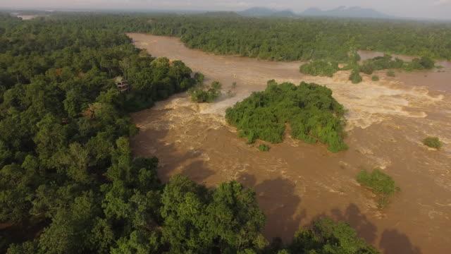 Aerial view Khone Phapheng Falls, Laos
