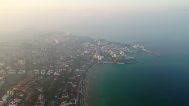 aerial view ladies beach with cloudy at turkey - istanbul stock videos & royalty-free footage