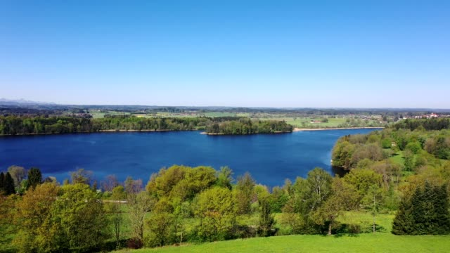 aerial view: lake abtsee, bavaria in springtime - taking a bath stock videos & royalty-free footage